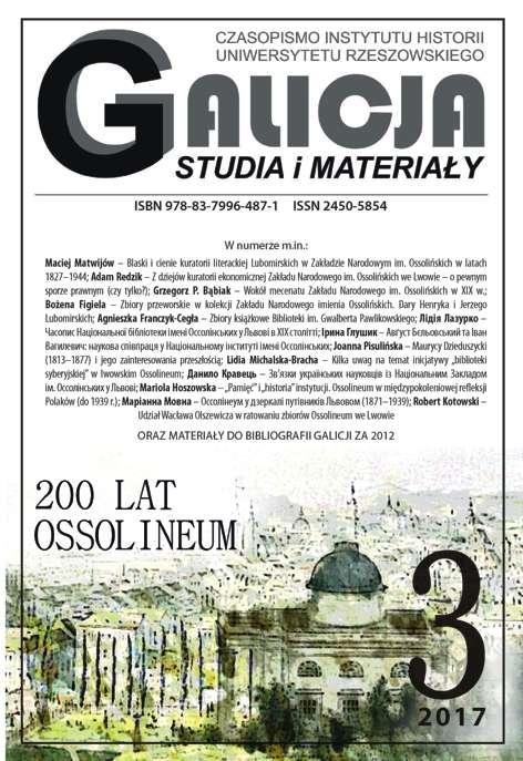 Galicja._Studia_i_materialy_2017_3._200_lat_Ossolineum